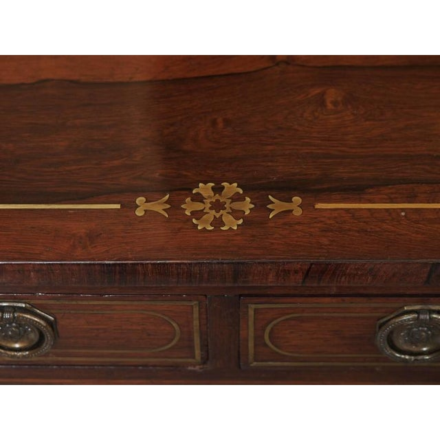 Early 19th Century Antique English Regency Rosewood Writing Table, Saber Legs, Brass Inlay For Sale - Image 5 of 10