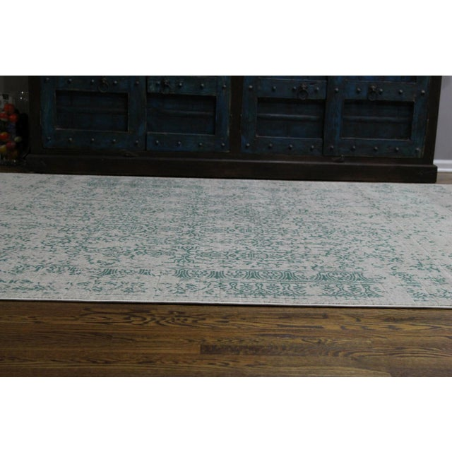 "Vintage Faded Persian Teal Distressed Rug - 5'3"" X 7'7"" For Sale - Image 4 of 7"