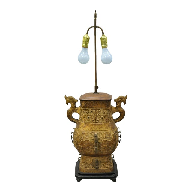Antique Chinese Gilt Bronze & Rosewood Figural Double Light Table Lamp For Sale