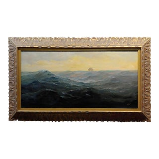 1920s Angel Espoy Seascape With Sail Ship on the Horizon Oil Painting For Sale