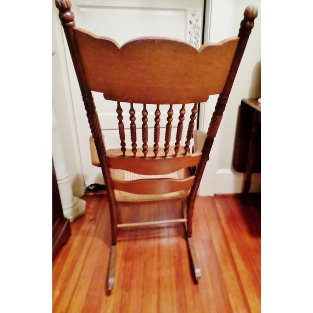 Late 20th Century Antique Golden Oak Rocking Chair For Sale - Image 4 of 13