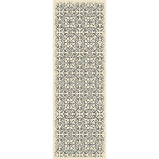 Gray & White Quad European Design Rug - 2' X 6'