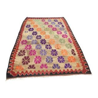 Colorful Vintage Turkish Kilim Rug