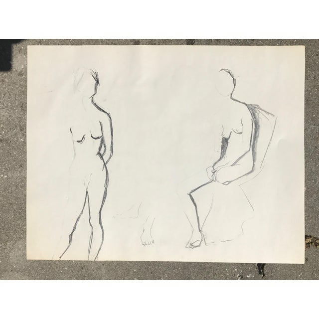 Gorgeous sketch of two nudes, one in a chair and two standing up — and a pair of feet in the middle! Simply gorgeous;...