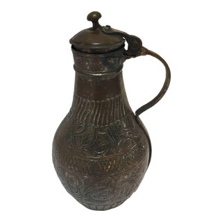 19th Century Middle Eastern Tinned Copper Ewer For Sale