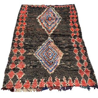 "Ozzy Moroccan Boucherouite Rug - 4'8'x6'10"" For Sale"