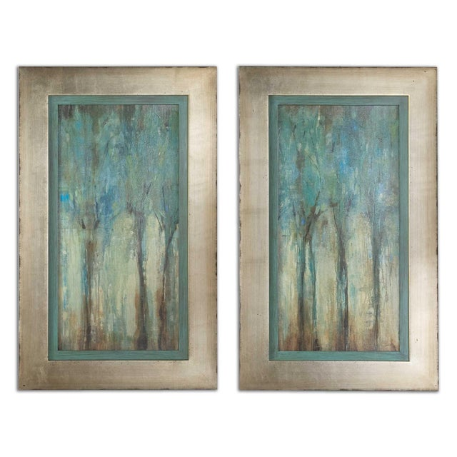Contemporary Uttermost Framed Whispering Wind Oil Reproductions - a Pair For Sale - Image 3 of 3