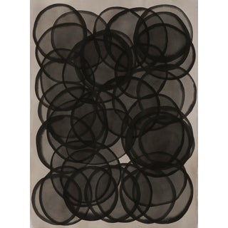 """""""Layers of Black Bubbles"""" Contemporary Abstract Mixed-Media Painting on Paper by Sabrina Bachelier For Sale"""