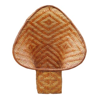 Vintage Two Tone Rattan Bamboo Collared Basket For Sale