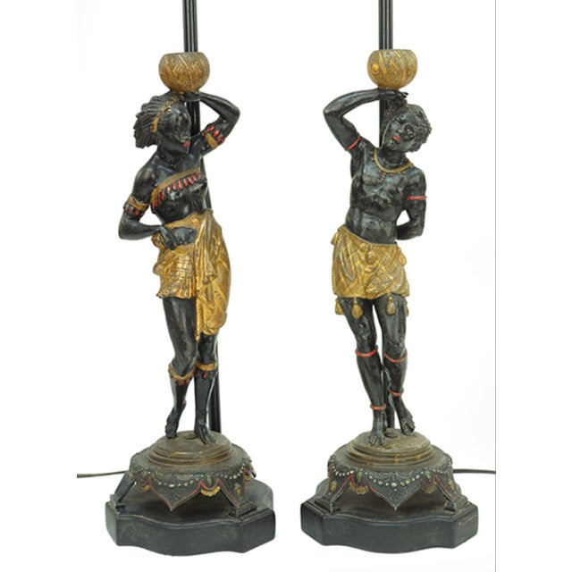 Figurative Late 19th Century Vintage Blackamoor Figures Fitted as Lamps- A Pair For Sale - Image 3 of 3