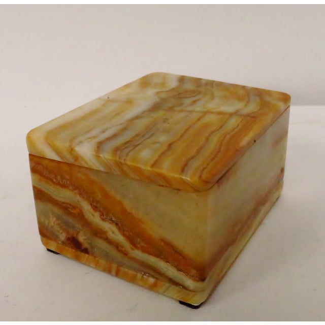 Mid 20th Century Vintage Carved Onyx Box For Sale - Image 5 of 10