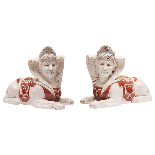 Glazed Terra Cotta Sphinx Figures- A Pair For Sale