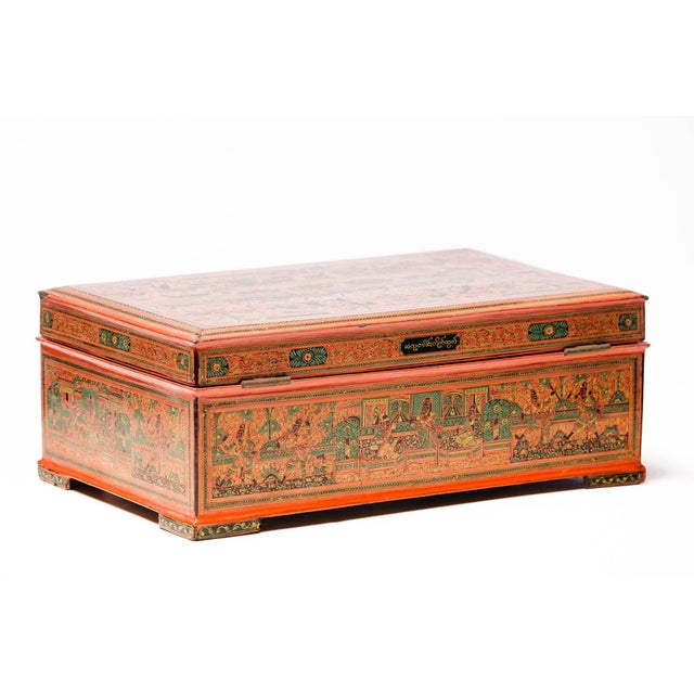 Wood Asian Antique Extra Large Hand-Painted Red Burmese Lacquered Box For Sale - Image 7 of 11