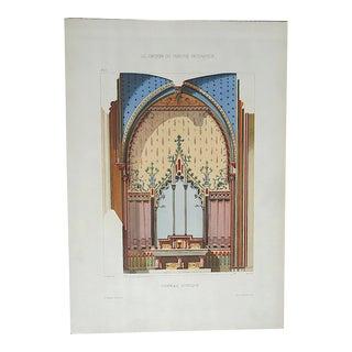 Antique Color Lithograph-French Interior Design Motifs c.1880-Folio Size For Sale