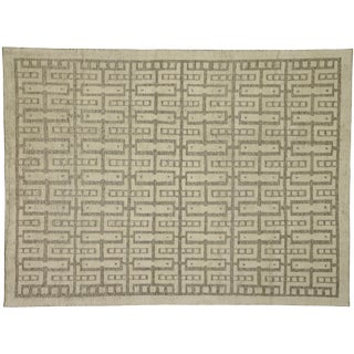 """Contemporary Modern Style High-Low Geometric Area Rug - 9'3"""" X 12'4"""" For Sale"""