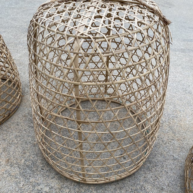 Bauhaus 1970s Large Bohemian Wicker Pendant Chandeliers - Set of 3 For Sale - Image 3 of 5