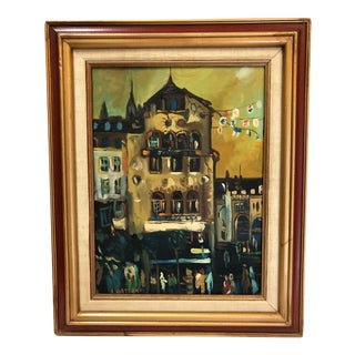 Mid-Century Cityscape Oil Painting on Canvas Signed Gattoni For Sale