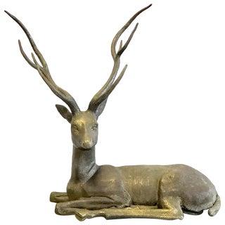 Large Cervo Deer Italian Brass Sculpture For Sale