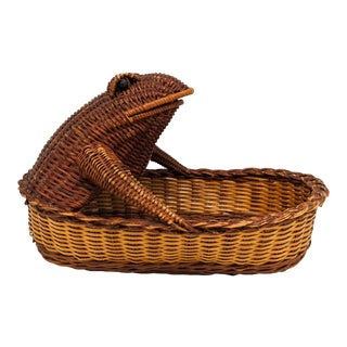 Late 20th Century Vintage Boho Chic Wicker Frog Basket For Sale