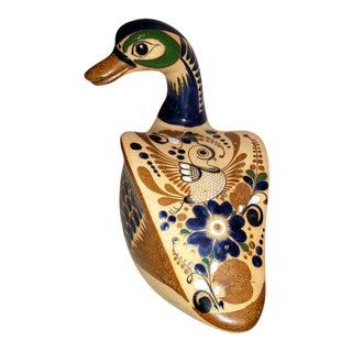 Vintage Tonala Mexican Blue Enamel Duck Pottery Sculpture For Sale