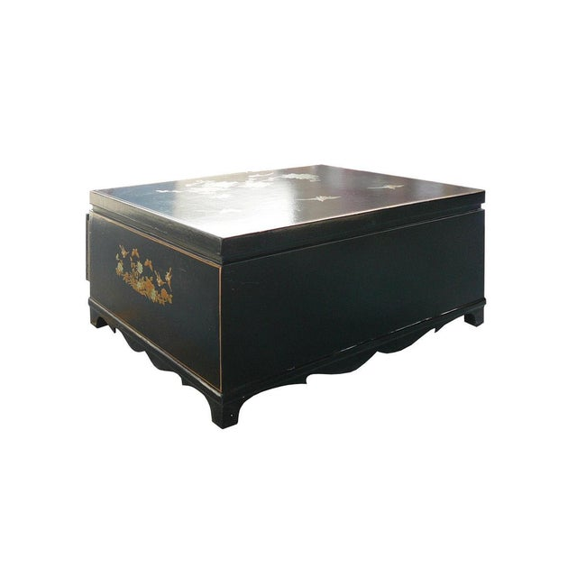 Chinese Gold Painted Black Leather Coffee Table