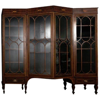 Georgian Style Inlaid Mahogany Architectural Bookcase For Sale