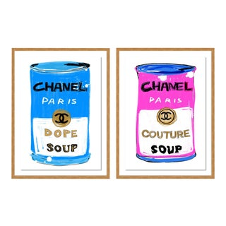 Chanel Soup Diptych by Annie Naranian in Gold Frame, Medium Art Print For Sale