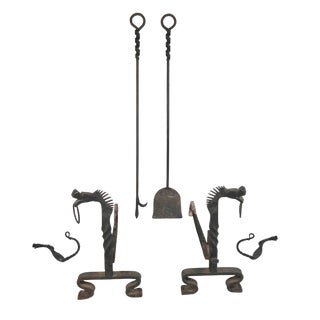 Wrought Iron Dragon Horse Andirons With Fireplace Tools and Jamb Hooks - Set of Six For Sale