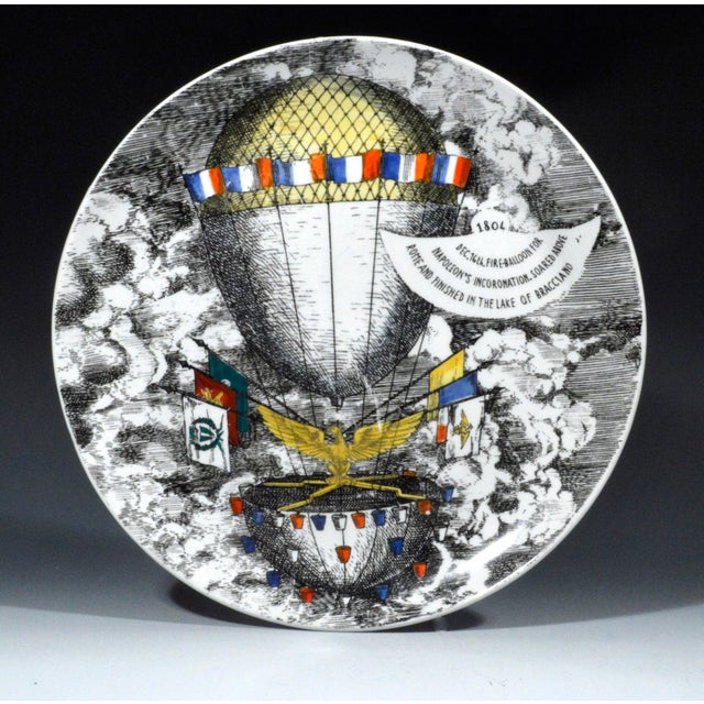 Piero Fornasetti Vintage Piero Fornasetti Mongolfiere (Hot Air) Balloon Porcelain Plate, #12 in Series, 1950's. For Sale - Image 4 of 4