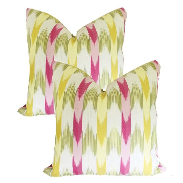 2010s Custom Multi-Colored Flame Stitch Stripe Pillow Covers - a Pair For Sale - Image 5 of 5
