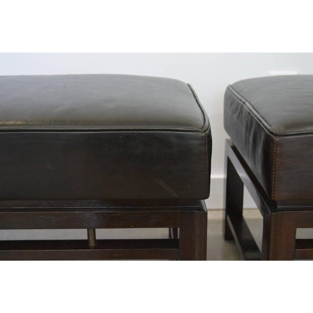 This stylish pair of benches were designed by Edward Wormley for Dunbar in the 1940s and they retain their original dark...