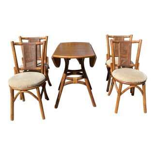 Mid Century Modern Tiki Style Bamboo Dinette Set by Classic Rattan - 5 Pieces For Sale