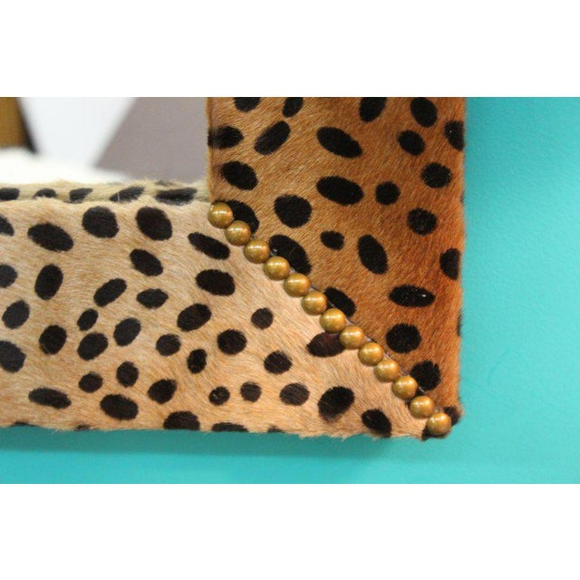 Mid-Century Modern Custom Made Mid Century Modern Faux Leopard Leather Frame Mirrors - a Pair For Sale - Image 3 of 7
