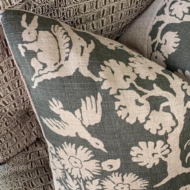 """Offered is one Schumacher """"Woodland Silhouette"""" pillow cover in Moss Green and dark beige linen, with Flaxen Linen reverse..."""