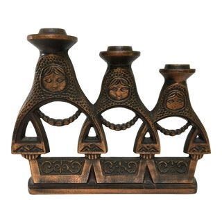 Rare, 1960's Folk Art Metal Three Russian Matryoshka Dolls Candelabra For Sale