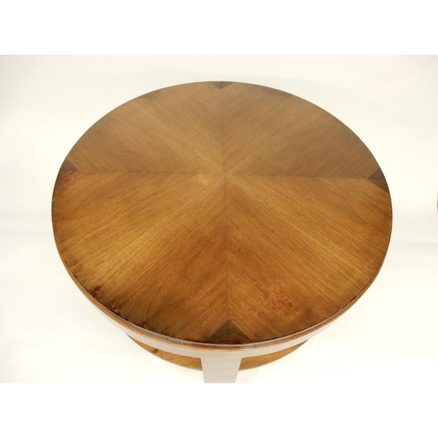 Brown Art Deco Round Walnut Side Table For Sale - Image 8 of 10