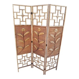 1990's Vintage Chippendale Bamboo 3 Panel Room Divider