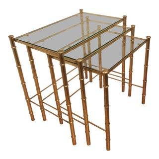 1970s Chinoiserie Brass Faux Bamboo & Glass Nesting Tables - Set of 3 For Sale