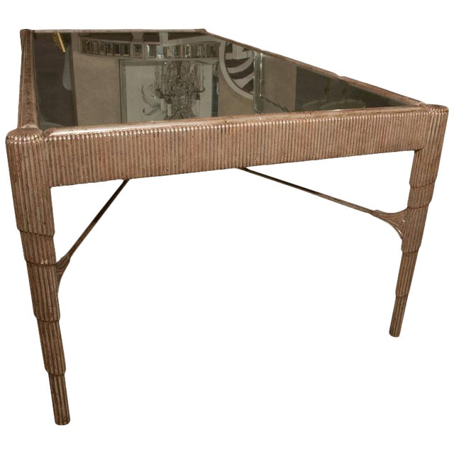 Mid-Century Cocktail Table with Antique Silver Finish and Mirrored Top For Sale