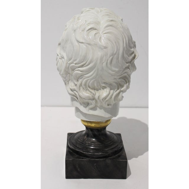 Mid-Century Modern Roman Head of Male in White Porcelain on Faux Malachite Stand For Sale - Image 4 of 11