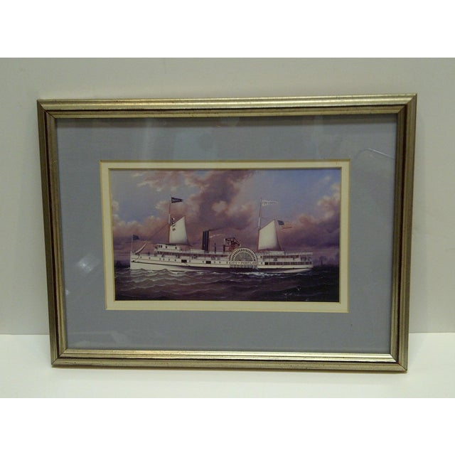 "This is an Original Print Of A Paddle Wheel Boat Called ""The City Of Portland"" -- Circa 1980 -- The Print Is Framed And..."