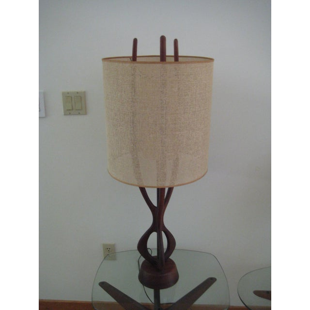 Contemporary Pearsall Walnut Lamp With Original Shade For Sale - Image 3 of 9