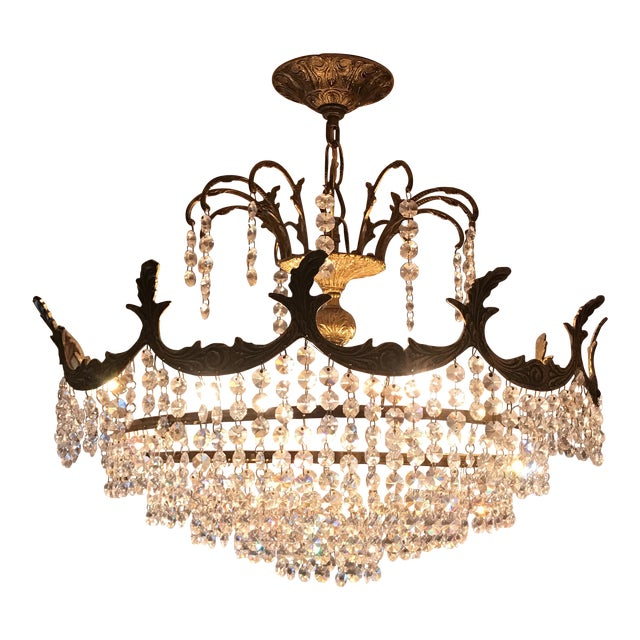 Art Deco Crystal and Brass Light Fixture - Image 1 of 7
