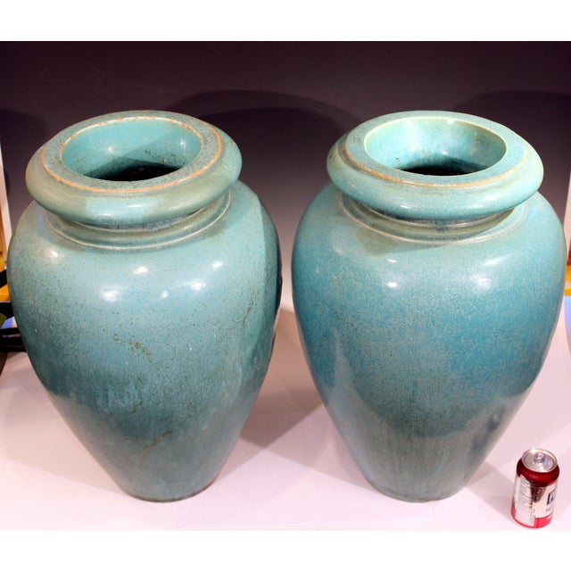 Galloway Terra Cotta Large Pair of Galloway Terracotta Company Pottery Turquoise Urns Vases For Sale - Image 4 of 12