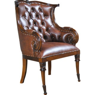 Traditional Style Leather Arm Chair For Sale