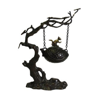 Chinese Rustic Bronze Metal Dimensional Tree Swing Incense Holder For Sale