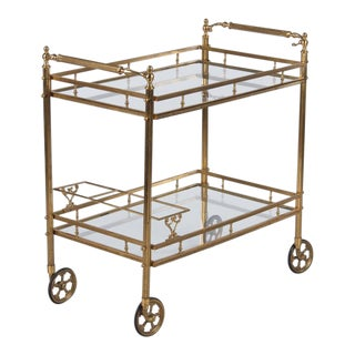 Maison Bagues Brass and Glass Bar Two Tiered Cart, 1950s