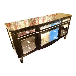 1930s Auffray Art Deco Black Mirrored Dresser With Silver Detail For Sale