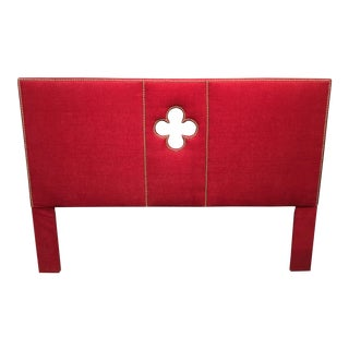 Modern Red Chenille Upholstered King Headboard For Sale