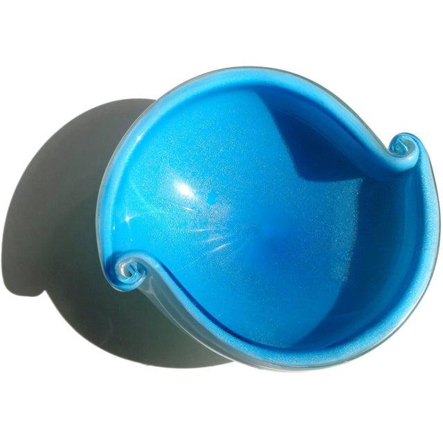 Mid-Century Modern Murano Vintage Cobalt Blue White Gold Flecks Italian Art Glass Scroll Shell Bowl Dish For Sale - Image 3 of 6